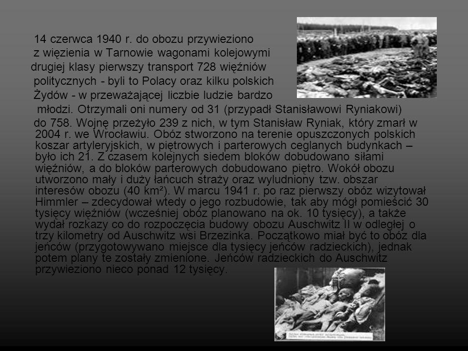 14 czerwca 1940 r. do obozu przywieziono