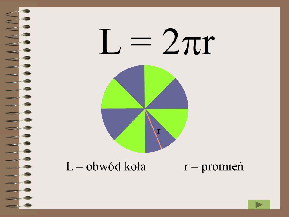 L = 2r r L – obwód koła r – promień