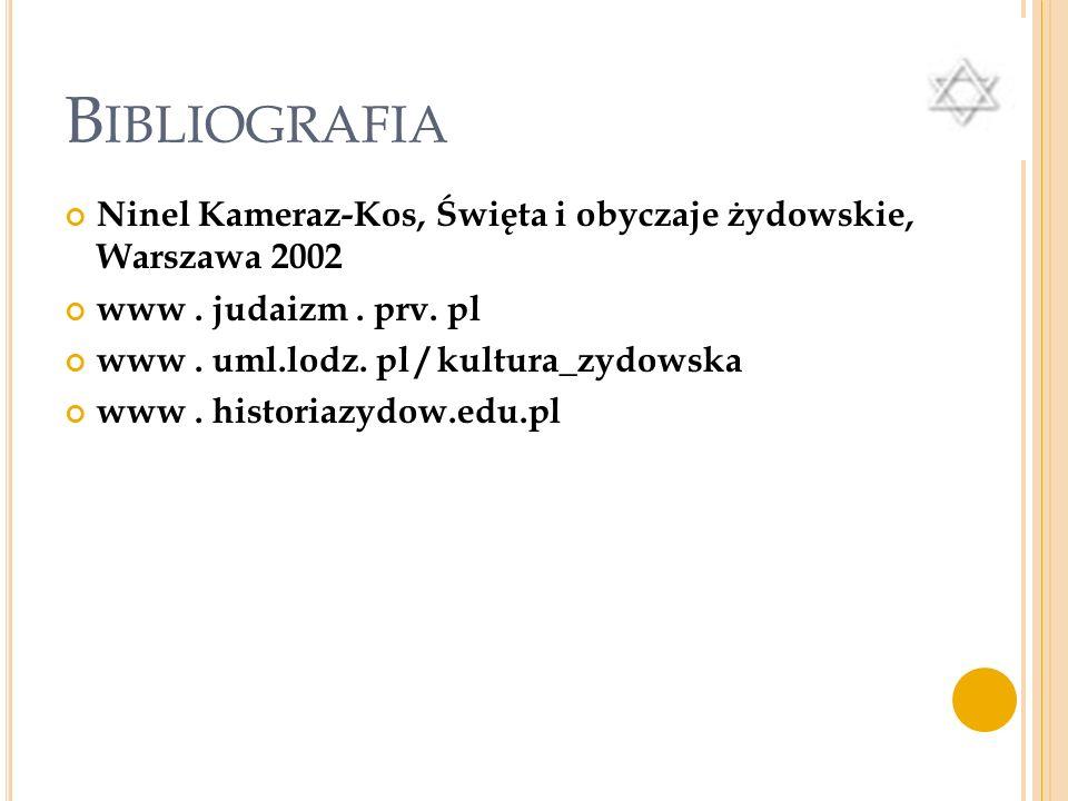 Bibliografia Ninel Kameraz-Kos, Święta i obyczaje żydowskie, Warszawa 2002. www . judaizm . prv. pl.