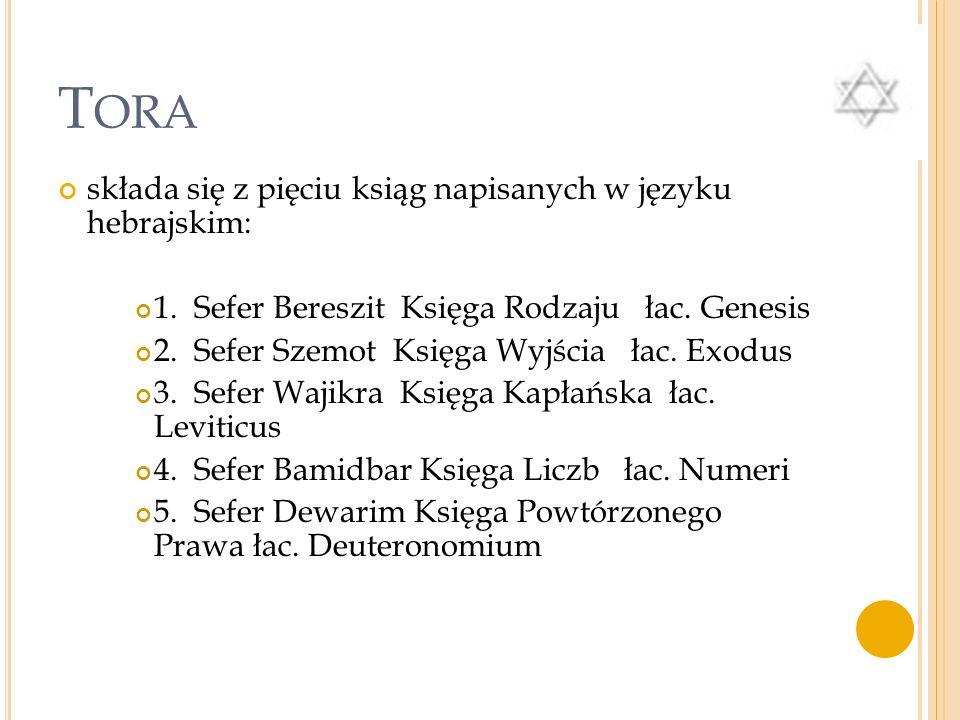 Tora składa się z pięciu ksiąg napisanych w języku hebrajskim: