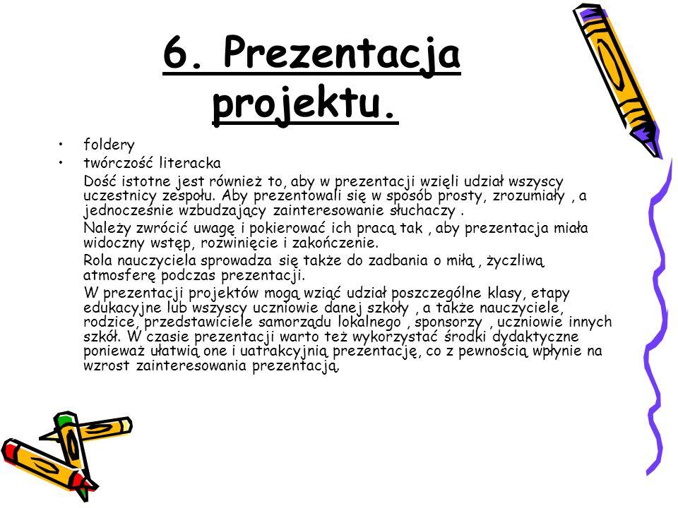 6. Prezentacja projektu. foldery twórczość literacka
