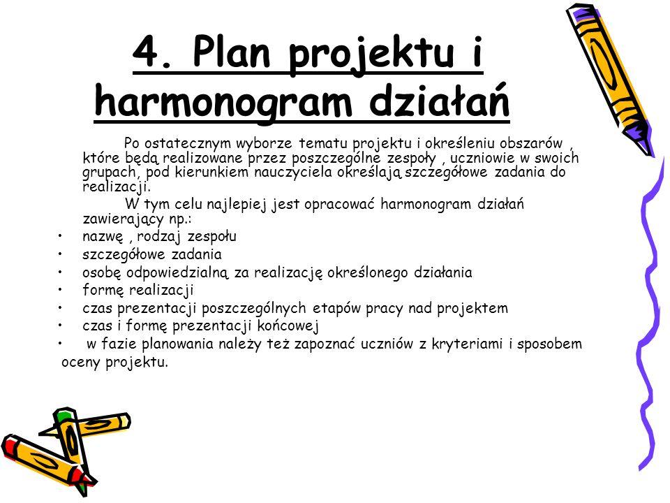4. Plan projektu i harmonogram działań