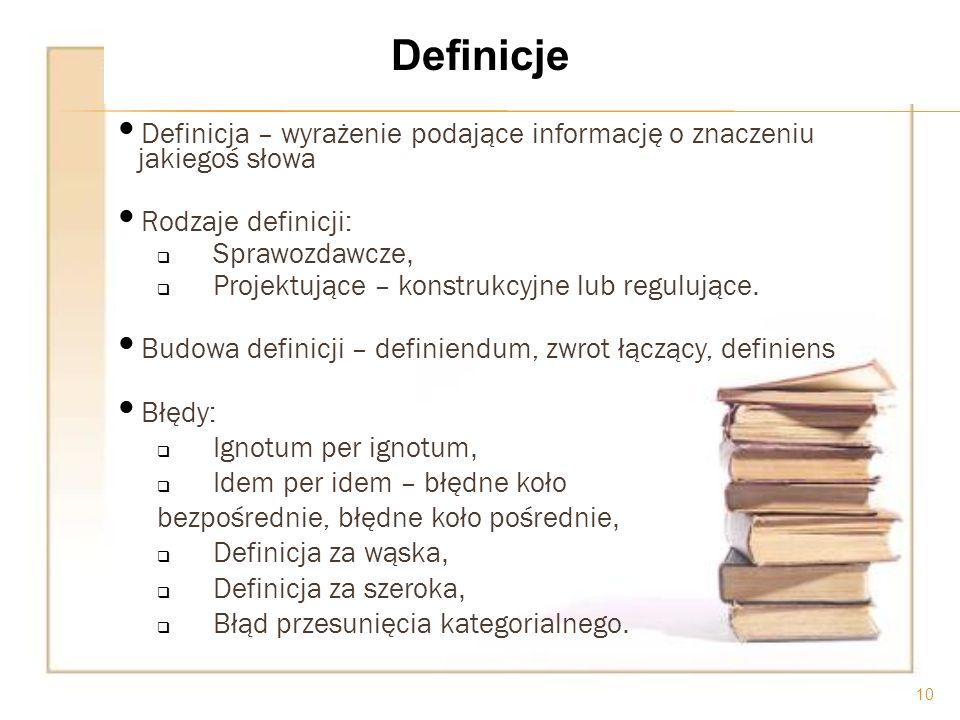 Definicje Definicja – wyrażenie podające informację o znaczeniu jakiegoś słowa. Rodzaje definicji: