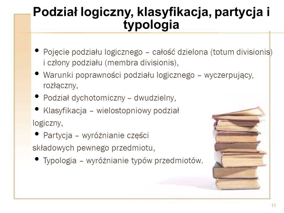 Podział logiczny, klasyfikacja, partycja i typologia