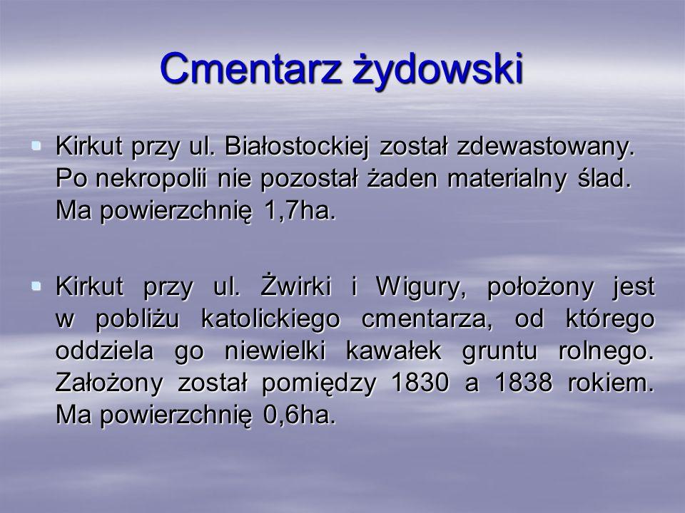 Cmentarz żydowski Kirkut przy ul. Białostockiej został zdewastowany. Po nekropolii nie pozostał żaden materialny ślad. Ma powierzchnię 1,7ha.