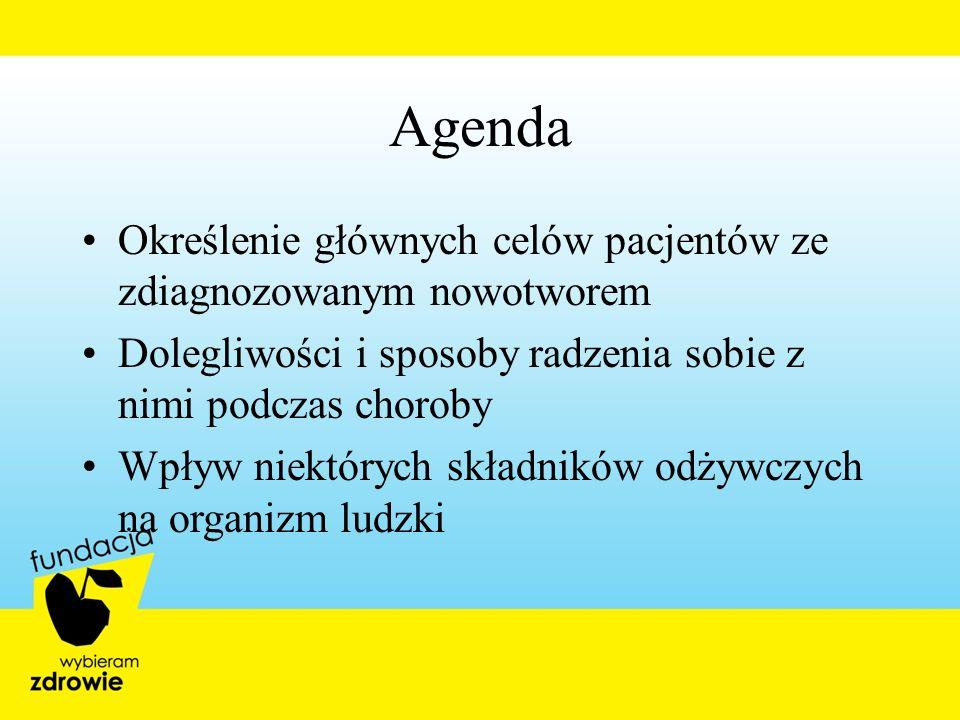 Agenda Określenie głównych celów pacjentów ze zdiagnozowanym nowotworem. Dolegliwości i sposoby radzenia sobie z nimi podczas choroby.
