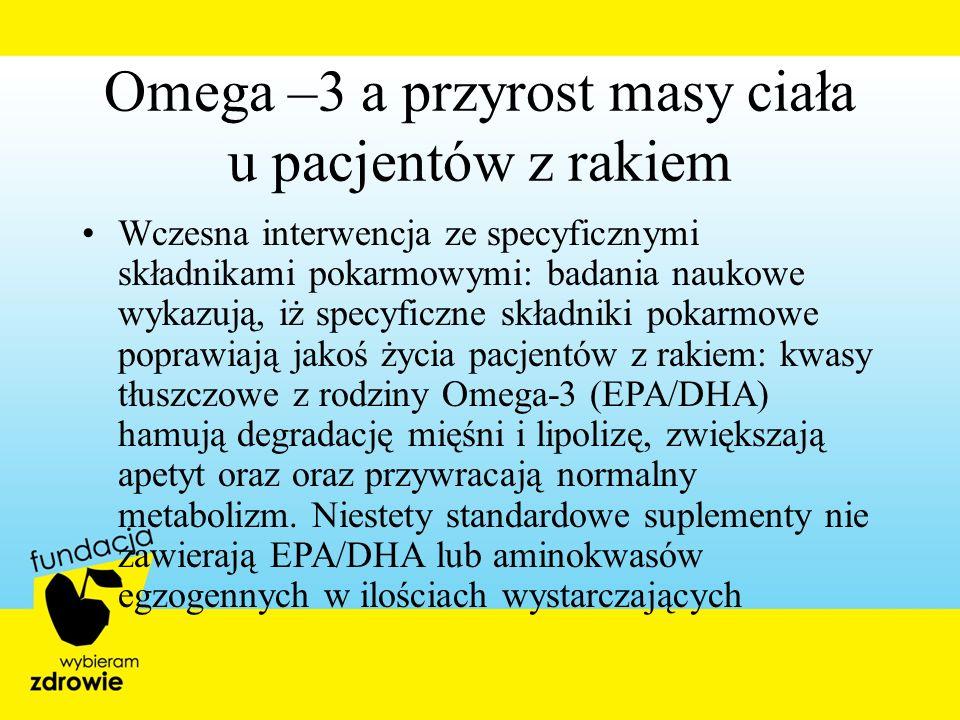Omega –3 a przyrost masy ciała u pacjentów z rakiem