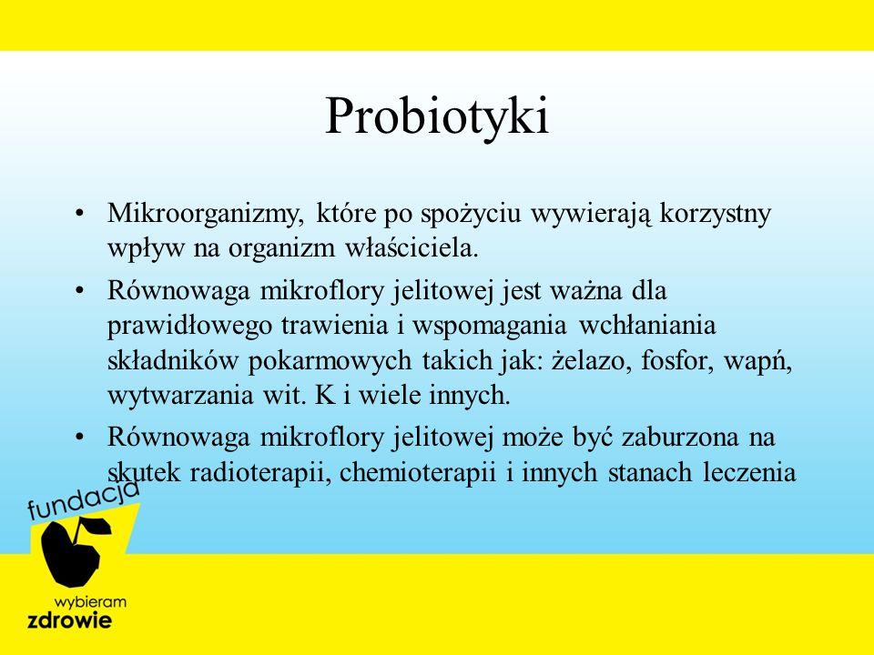 Probiotyki Mikroorganizmy, które po spożyciu wywierają korzystny wpływ na organizm właściciela.