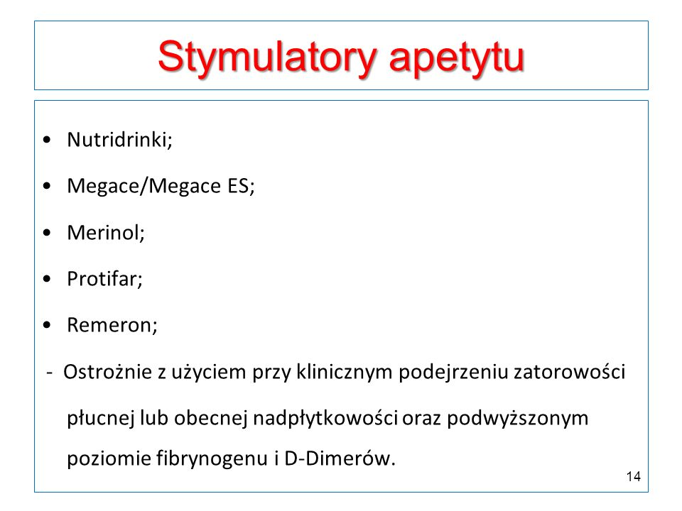 Stymulatory apetytu Nutridrinki; Megace/Megace ES; Merinol; Protifar;