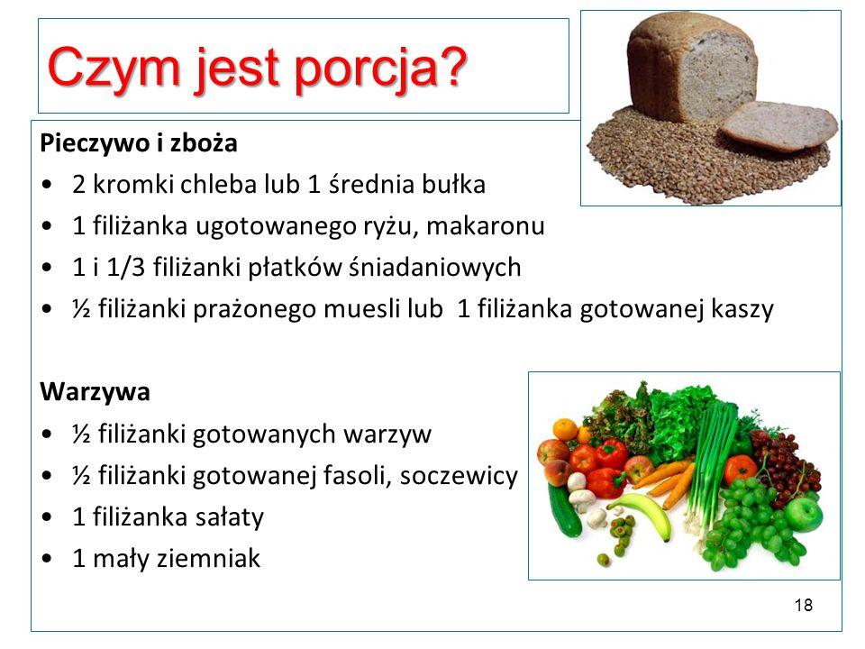 Czym jest porcja Pieczywo i zboża 2 kromki chleba lub 1 średnia bułka