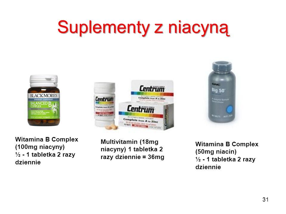 Suplementy z niacynąWitamina B Complex (100mg niacyny) ½ - 1 tabletka 2 razy dziennie.