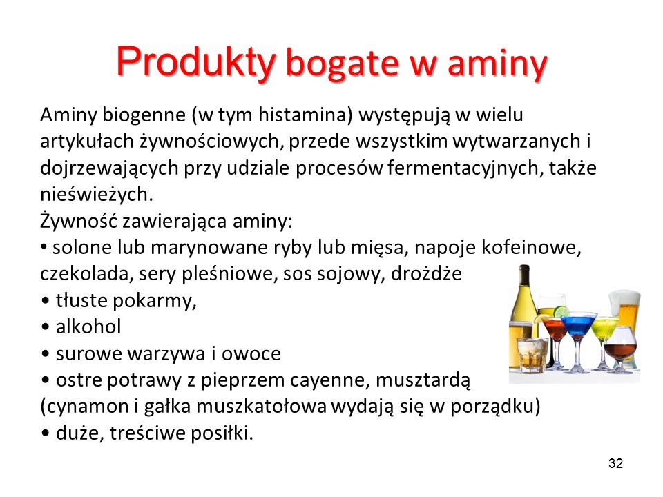 Produkty bogate w aminy