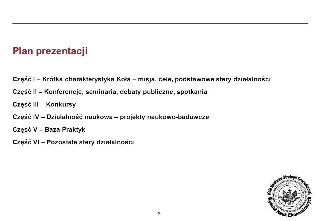 Plan prezentacji Część I – Krótka charakterystyka Koła – misja, cele, podstawowe sfery działalności.