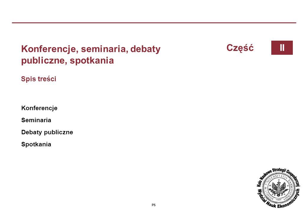 Konferencje, seminaria, debaty publiczne, spotkania Część II