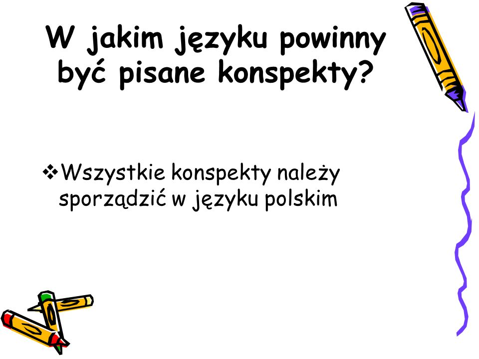 W jakim języku powinny być pisane konspekty