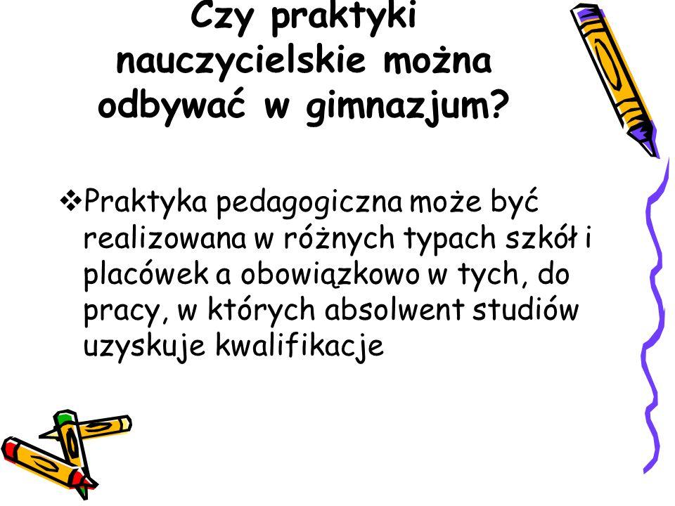 Czy praktyki nauczycielskie można odbywać w gimnazjum