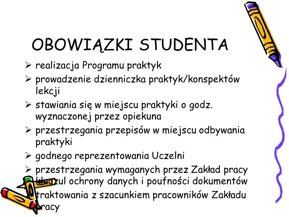 OBOWIĄZKI STUDENTA realizacja Programu praktyk