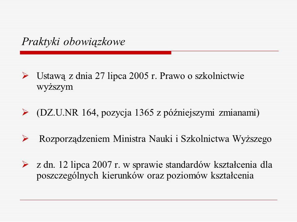 Praktyki obowiązkowe Ustawą z dnia 27 lipca 2005 r. Prawo o szkolnictwie wyższym. (DZ.U.NR 164, pozycja 1365 z późniejszymi zmianami)