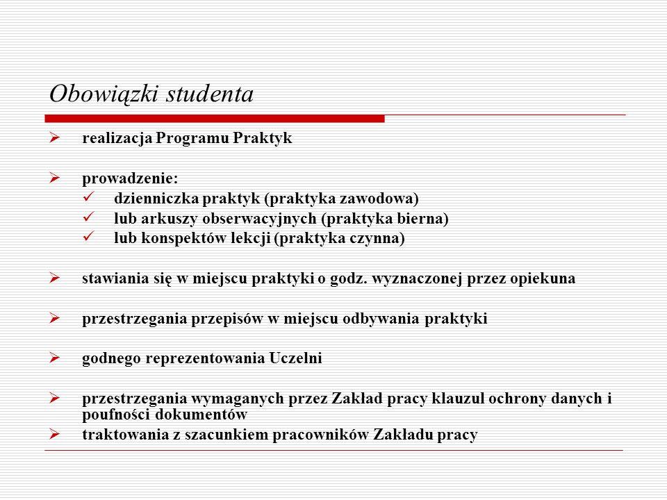 Obowiązki studenta realizacja Programu Praktyk prowadzenie: