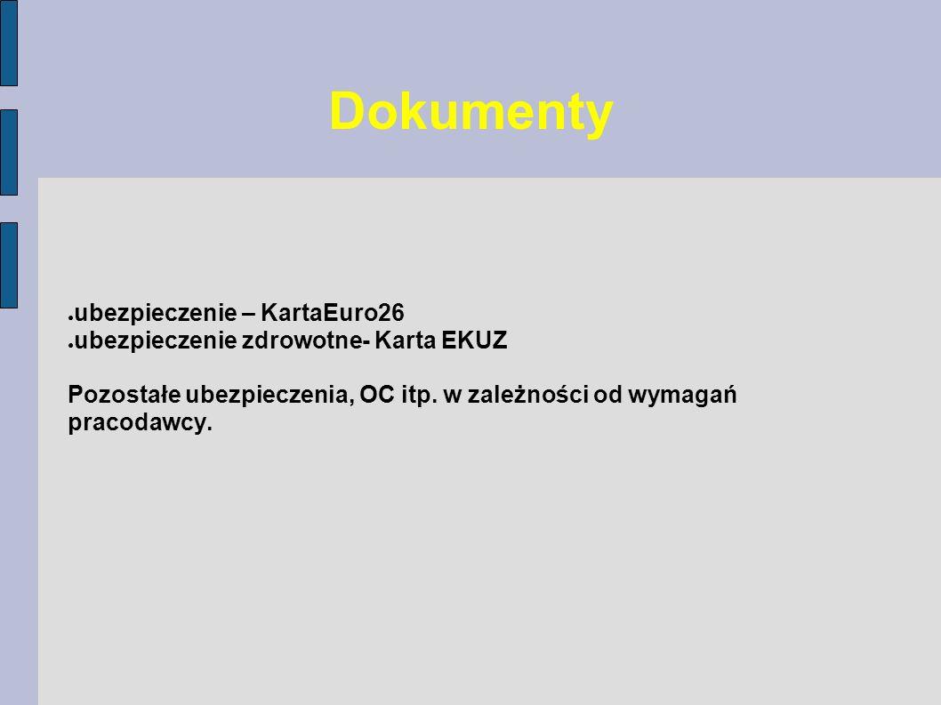 Dokumenty ubezpieczenie – KartaEuro26