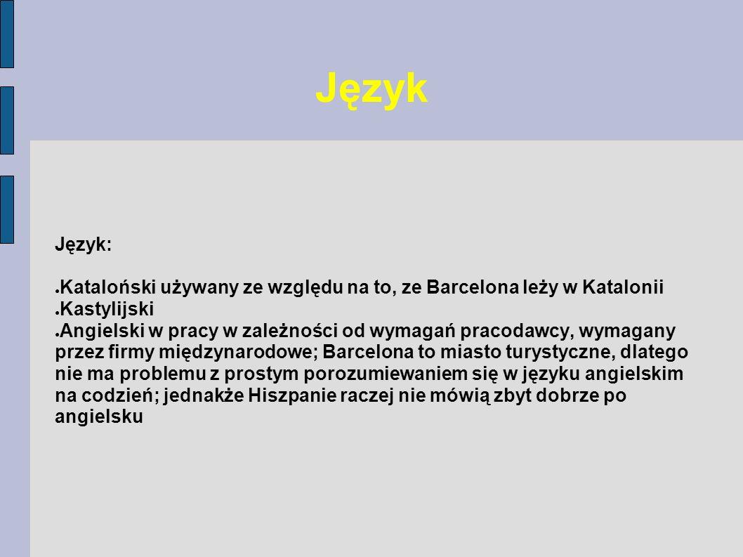 Język Język: Kataloński używany ze względu na to, ze Barcelona leży w Katalonii. Kastylijski.