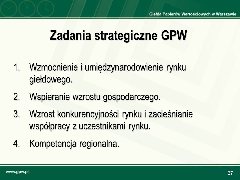 Zadania strategiczne GPW