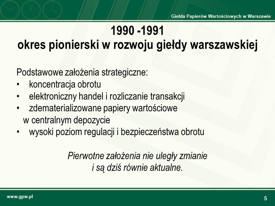 1990 -1991 okres pionierski w rozwoju giełdy warszawskiej