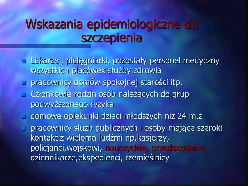 Wskazania epidemiologiczne do szczepienia
