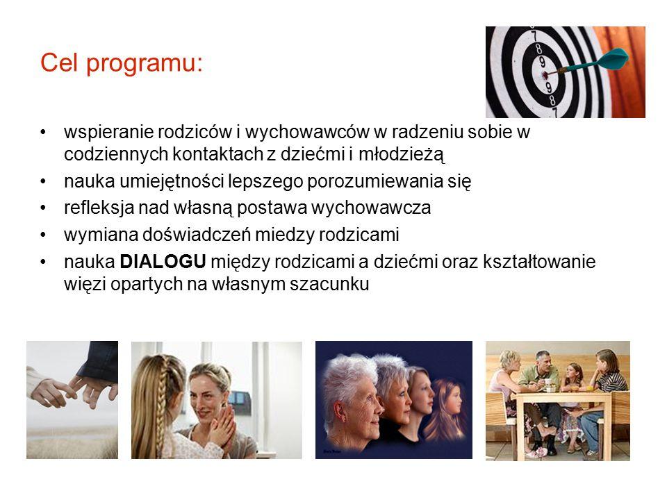 Cel programu: wspieranie rodziców i wychowawców w radzeniu sobie w codziennych kontaktach z dziećmi i młodzieżą.