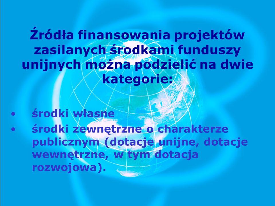 Źródła finansowania projektów zasilanych środkami funduszy unijnych można podzielić na dwie kategorie:
