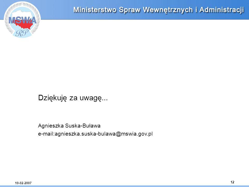 Dziękuję za uwagę... Agnieszka Suska-Buława