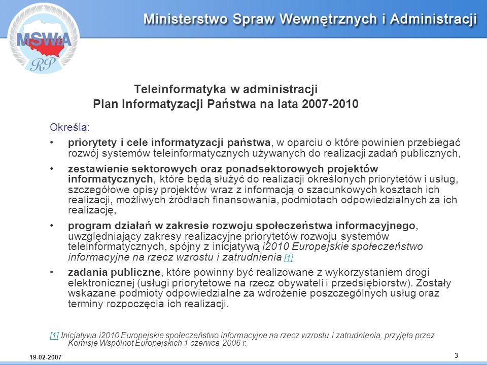 Teleinformatyka w administracji Plan Informatyzacji Państwa na lata 2007-2010