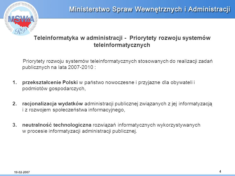Teleinformatyka w administracji - Priorytety rozwoju systemów teleinformatycznych