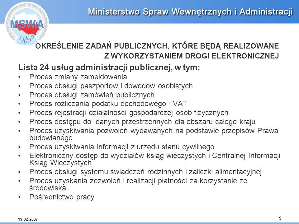 Lista 24 usług administracji publicznej, w tym: