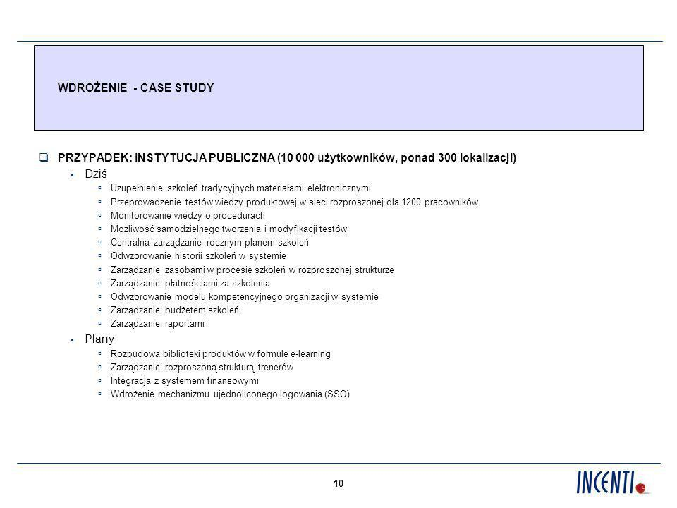 WDROŻENIE - CASE STUDY PRZYPADEK: INSTYTUCJA PUBLICZNA (10 000 użytkowników, ponad 300 lokalizacji)