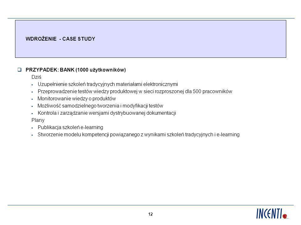 WDROŻENIE - CASE STUDY PRZYPADEK: BANK (1000 użytkowników) Dziś. Uzupełnienie szkoleń tradycyjnych materiałami elektronicznymi.