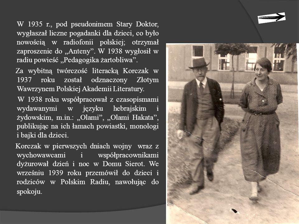 """W 1935 r., pod pseudonimem Stary Doktor, wygłaszał liczne pogadanki dla dzieci, co było nowością w radiofonii polskiej; otrzymał zaproszenie do """"Anteny ."""
