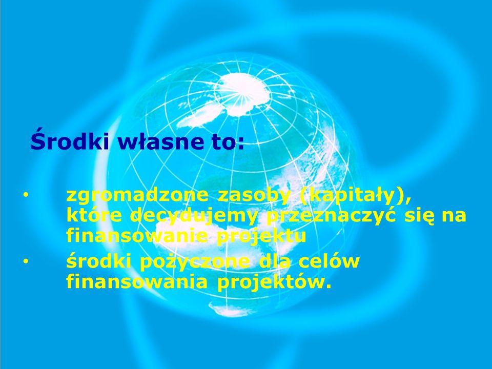 Środki własne to: zgromadzone zasoby (kapitały), które decydujemy przeznaczyć się na finansowanie projektu.