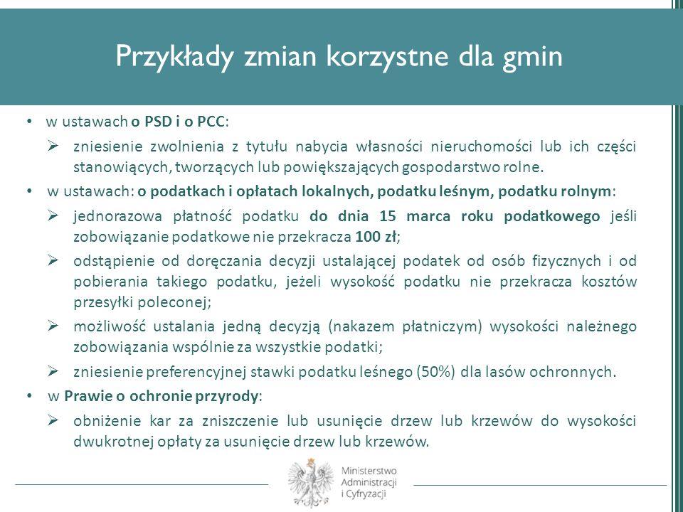Przykłady zmian korzystne dla gmin