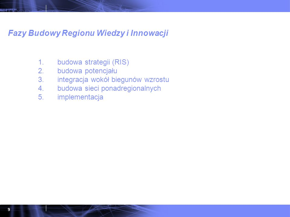 Fazy Budowy Regionu Wiedzy i Innowacji