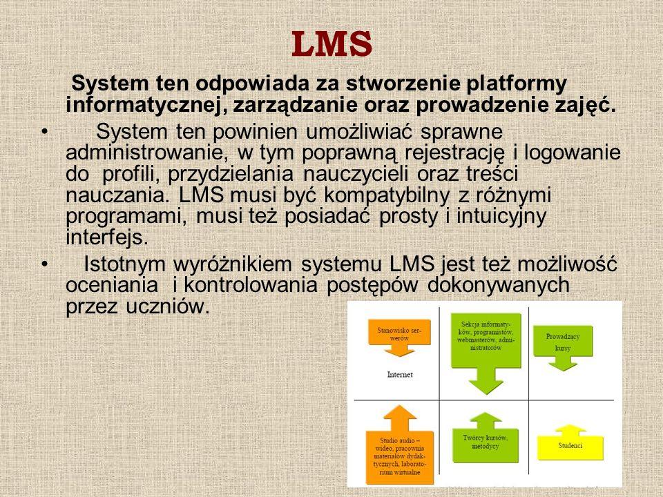 LMSSystem ten odpowiada za stworzenie platformy informatycznej, zarządzanie oraz prowadzenie zajęć.