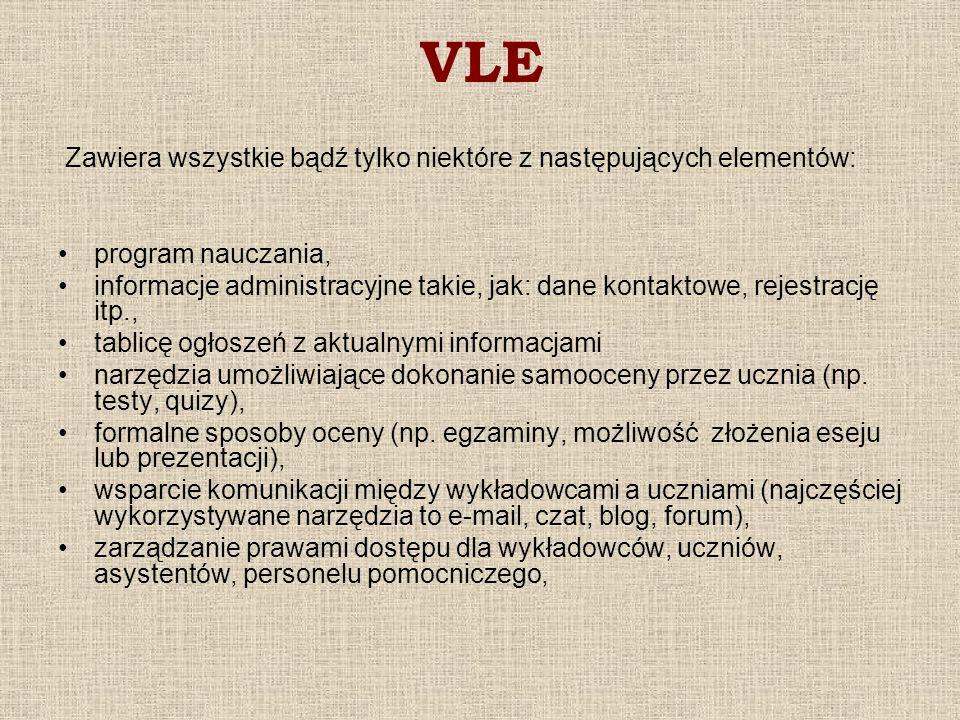 VLE Zawiera wszystkie bądź tylko niektóre z następujących elementów: