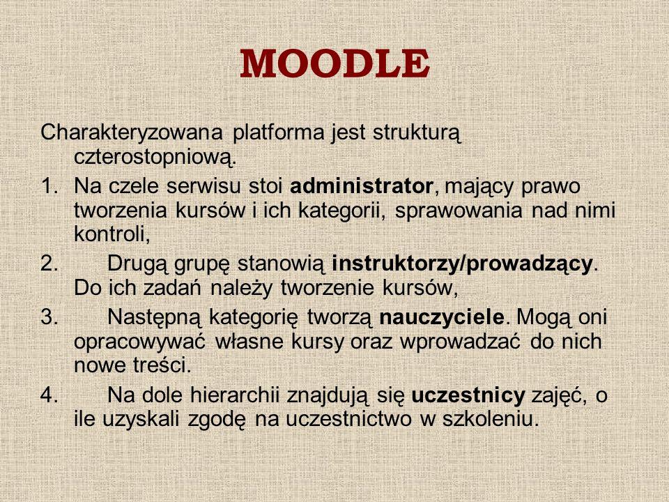 MOODLE Charakteryzowana platforma jest strukturą czterostopniową.
