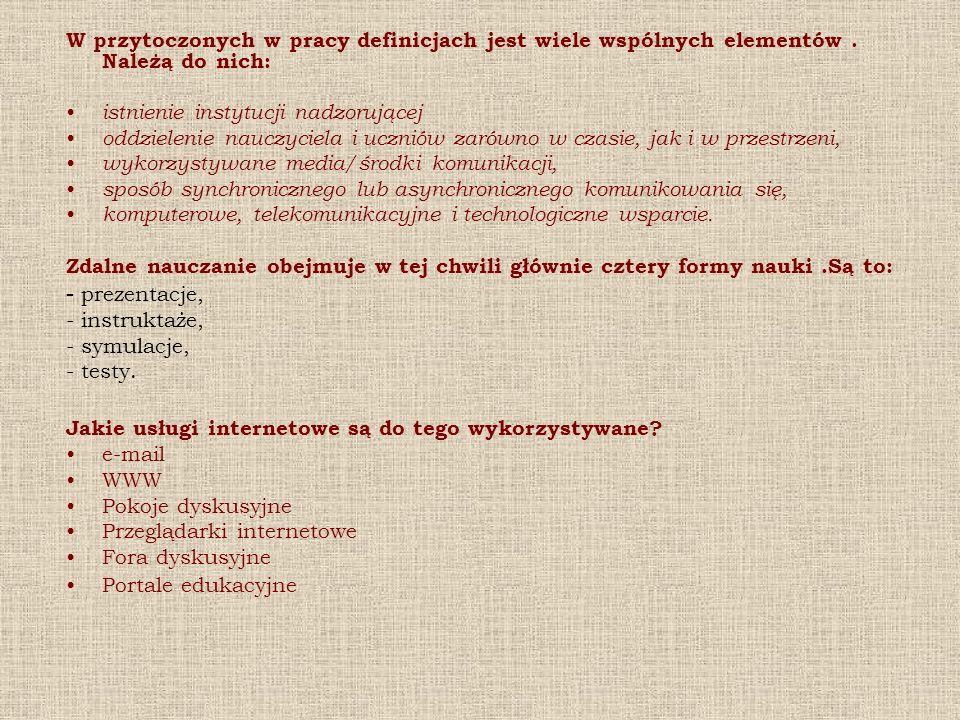 W przytoczonych w pracy definicjach jest wiele wspólnych elementów