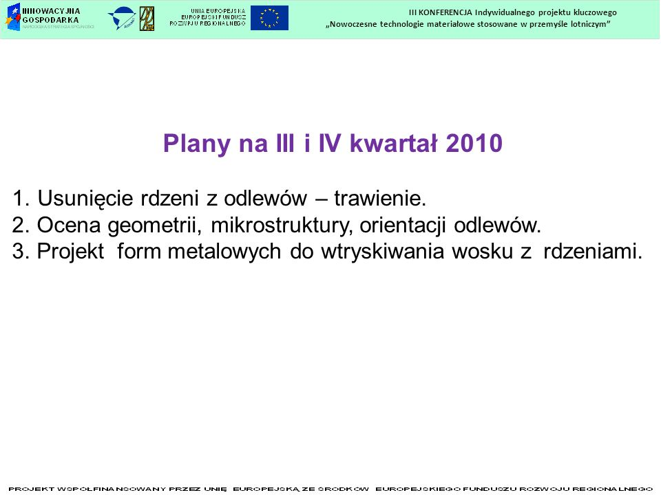 Plany na III i IV kwartał 2010