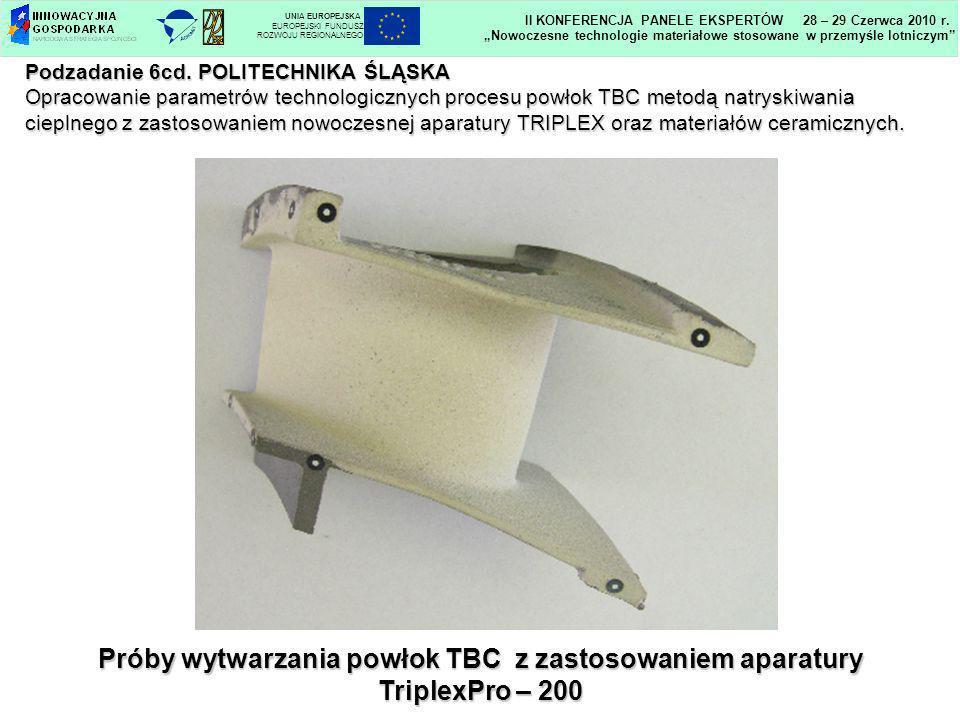 Próby wytwarzania powłok TBC z zastosowaniem aparatury
