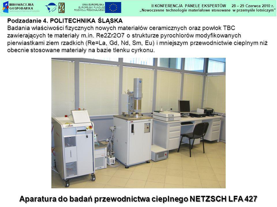 Aparatura do badań przewodnictwa cieplnego NETZSCH LFA 427