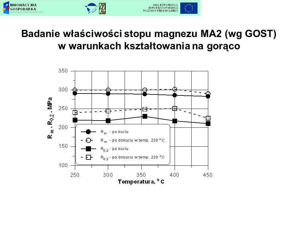 Badanie właściwości stopu magnezu MA2 (wg GOST) w warunkach kształtowania na gorąco