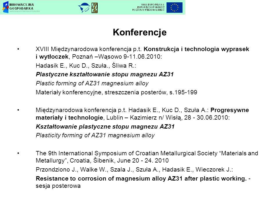 Konferencje XVIII Międzynarodowa konferencja p.t. Konstrukcja i technologia wyprasek i wytłoczek, Poznań –Wąsowo 9-11.06.2010: