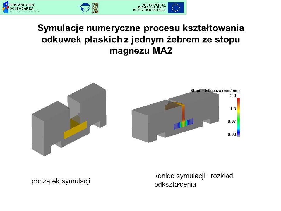Symulacje numeryczne procesu kształtowania odkuwek płaskich z jednym żebrem ze stopu magnezu MA2